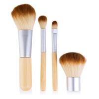 Компактный набор 4 кистей для макияжа с ручками из бамбука для нанесения минеральной косметики