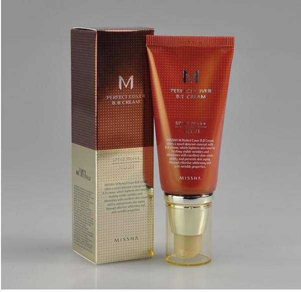 Многофункциональный увлажняющий питательный антивозрастной тональный BB крем с защитой от солнца Missha M Perfect Cover BB Cream SPF42 PA+++ 01