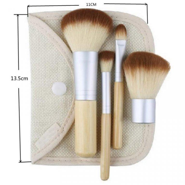 Компактный набор 4 кистей для макияжа с ручками из бамбука для нанесения минеральной косметики 08