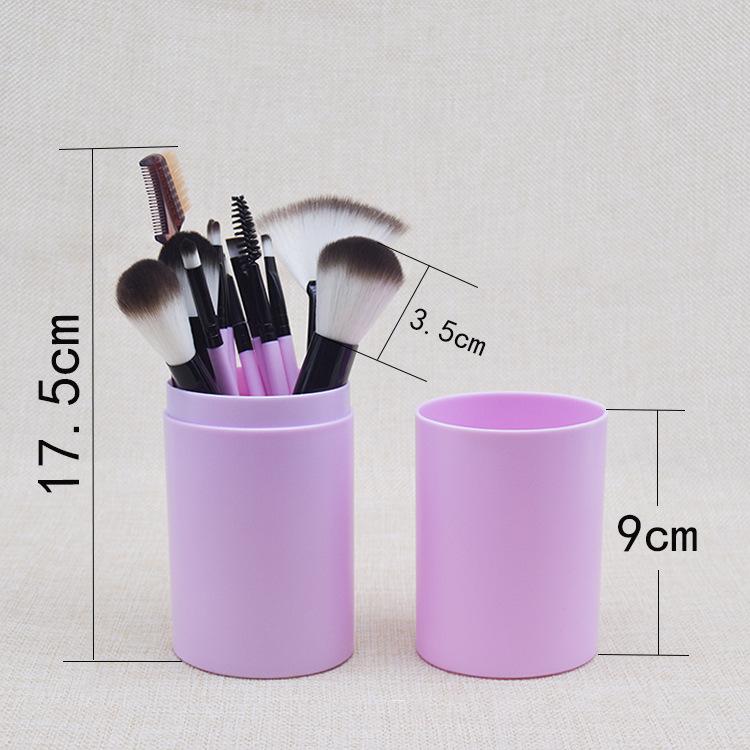 Набор кистей для макияжа 12 штук в тубусе 04