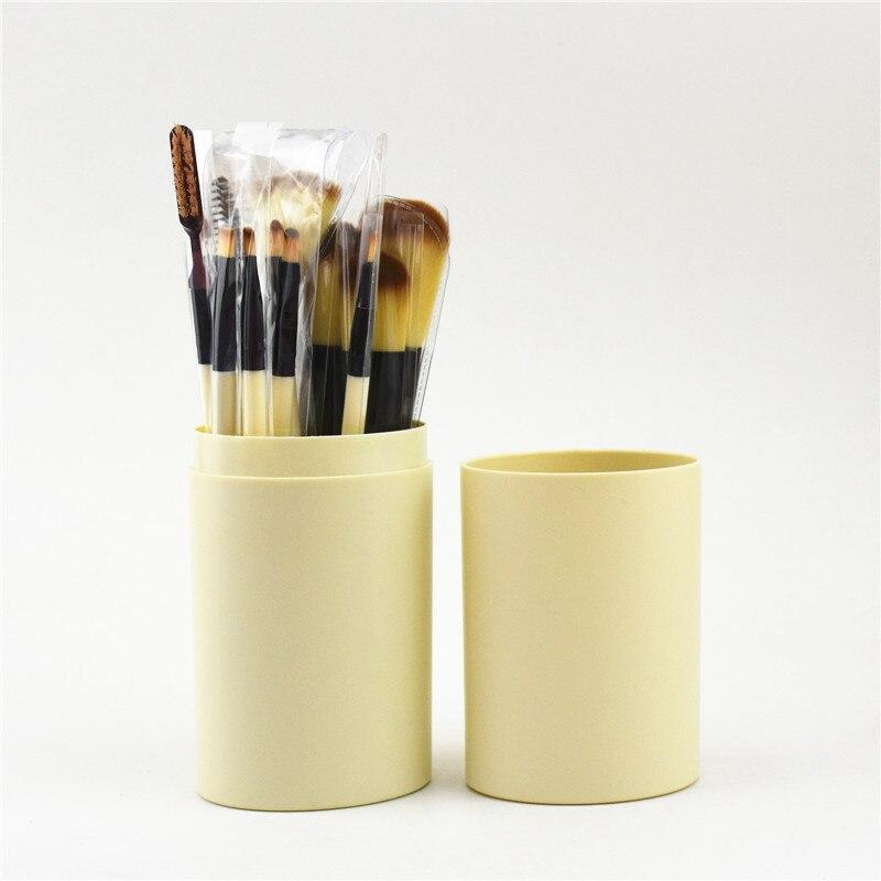 Набор кистей для макияжа 12 штук в тубусе 01