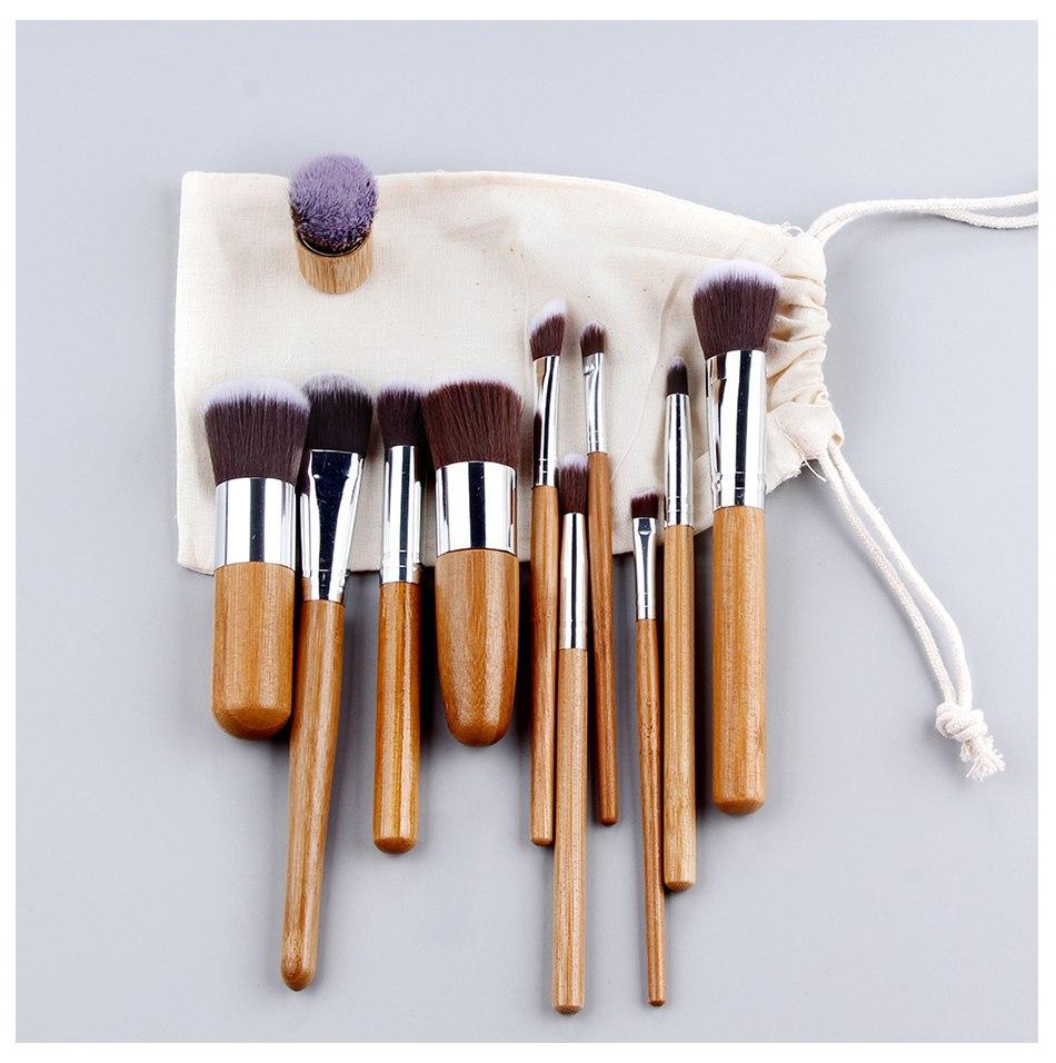Набор таклоновых кистей с бамбуковыми ручками 11 шт. 03