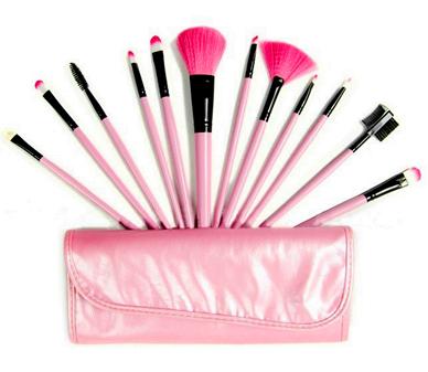 Набор кистей для макияжа 12 кистей розовый