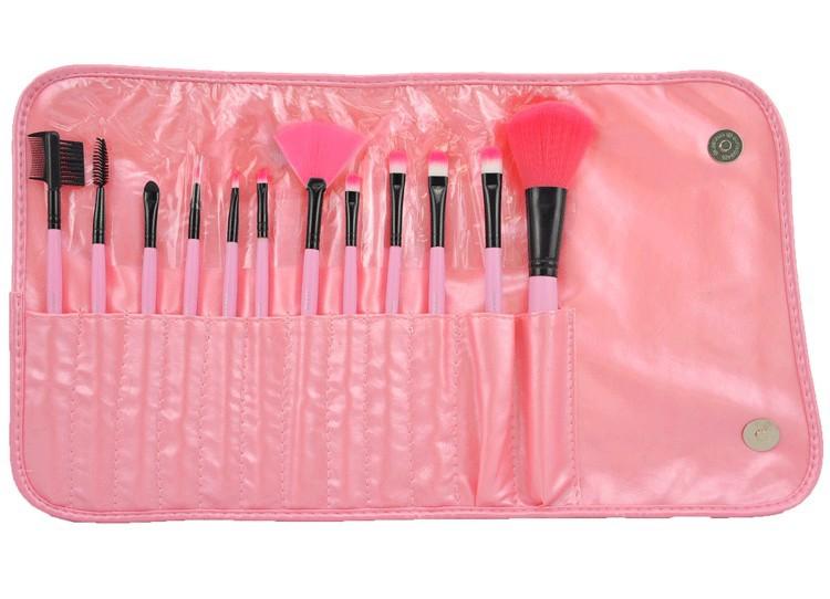 Набор кистей для макияжа 12 кистей розовый 01