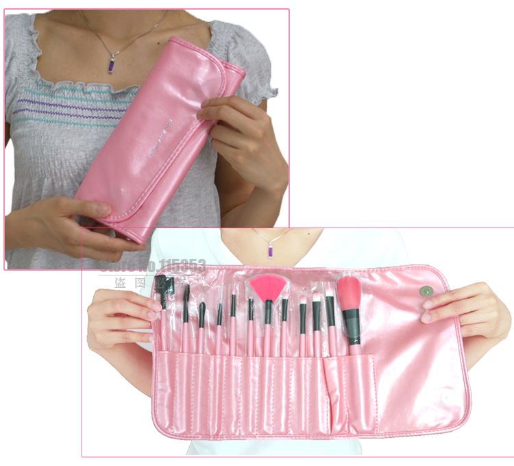 Набор кистей для макияжа 12 кистей розовый 02