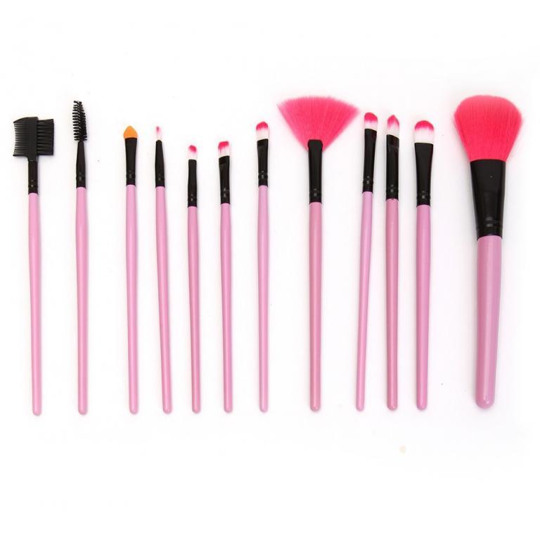 Набор кистей для макияжа 12 кистей розовый 05