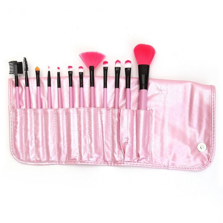 Набор кистей для макияжа 12 кистей розовый 06