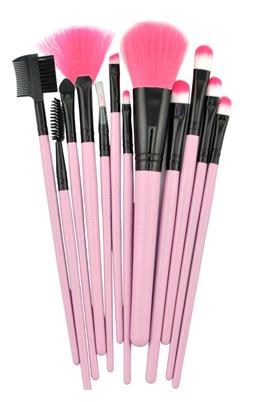 Набор кистей для макияжа 12 кистей розовый 07