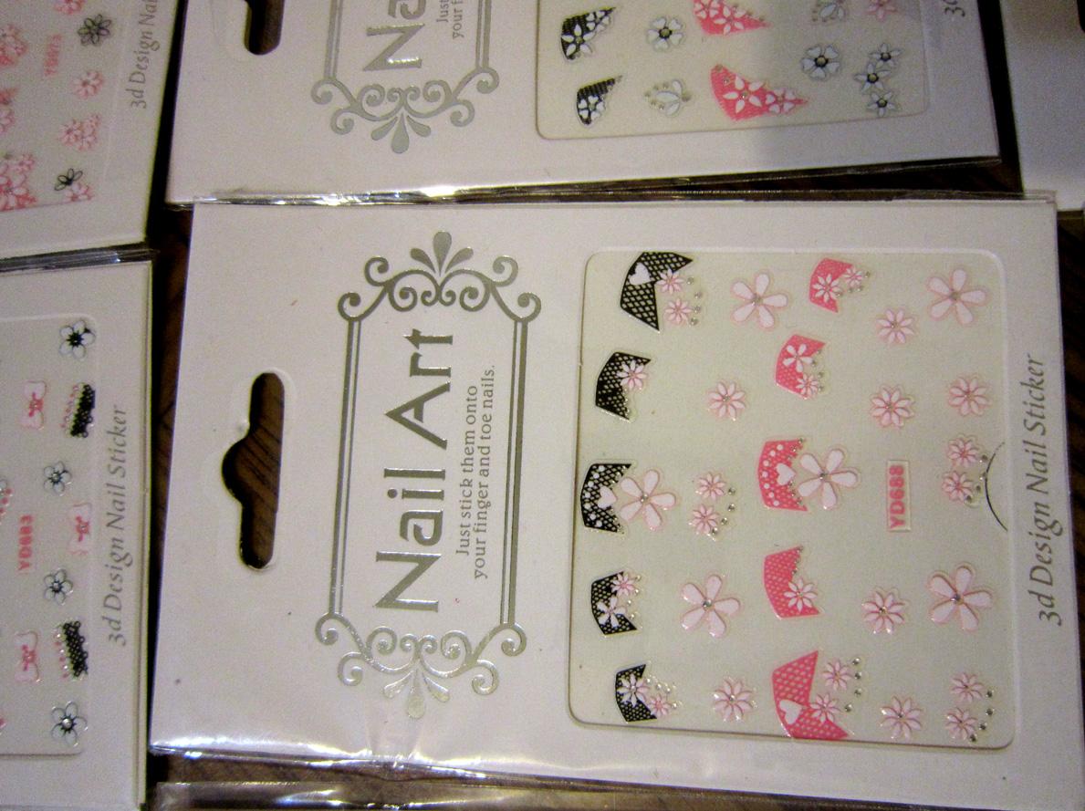 Самоклеящиеся 3D объемные наклейки для дизайна ногтей в розово-черных цветах 03