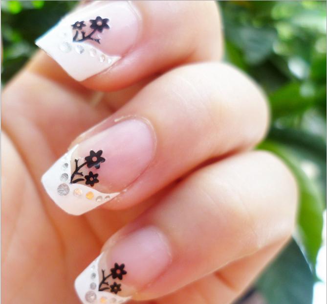 Самоклеящиеся 3D объемные наклейки для дизайна ногтей в розово-черных цветах 06