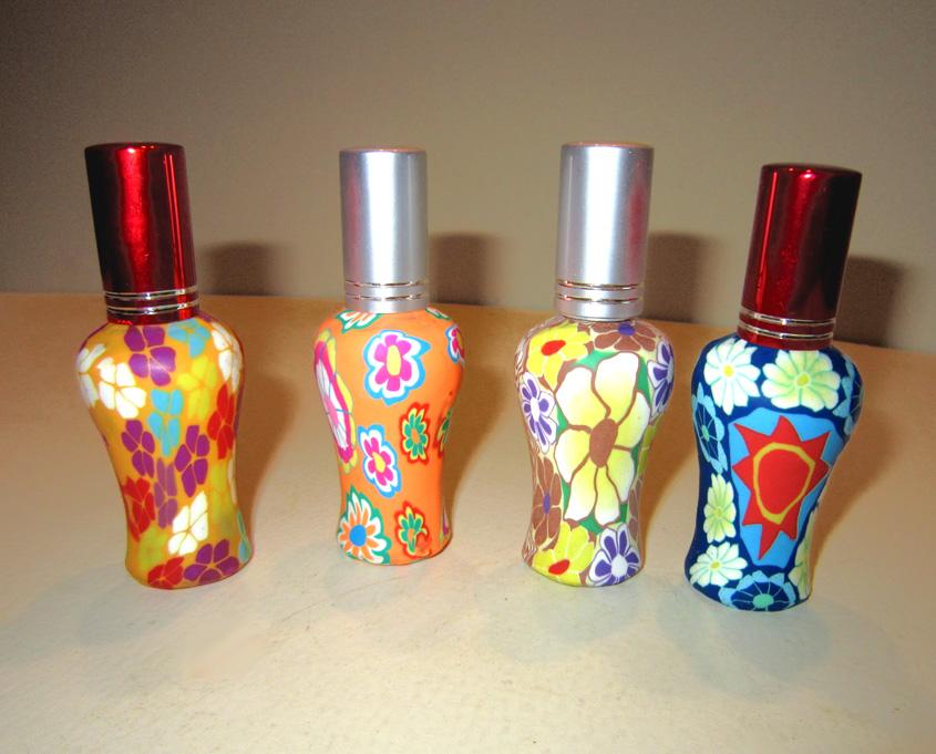 Флаконы стеклянные расписные 12 мл, атомайзеры для духов, флаконы для парфюмерии, фиолки 12 мл 04