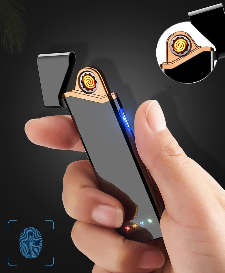 USB электро зажигалка сенсорная электрическая с отпечатком пальца Lighter 03